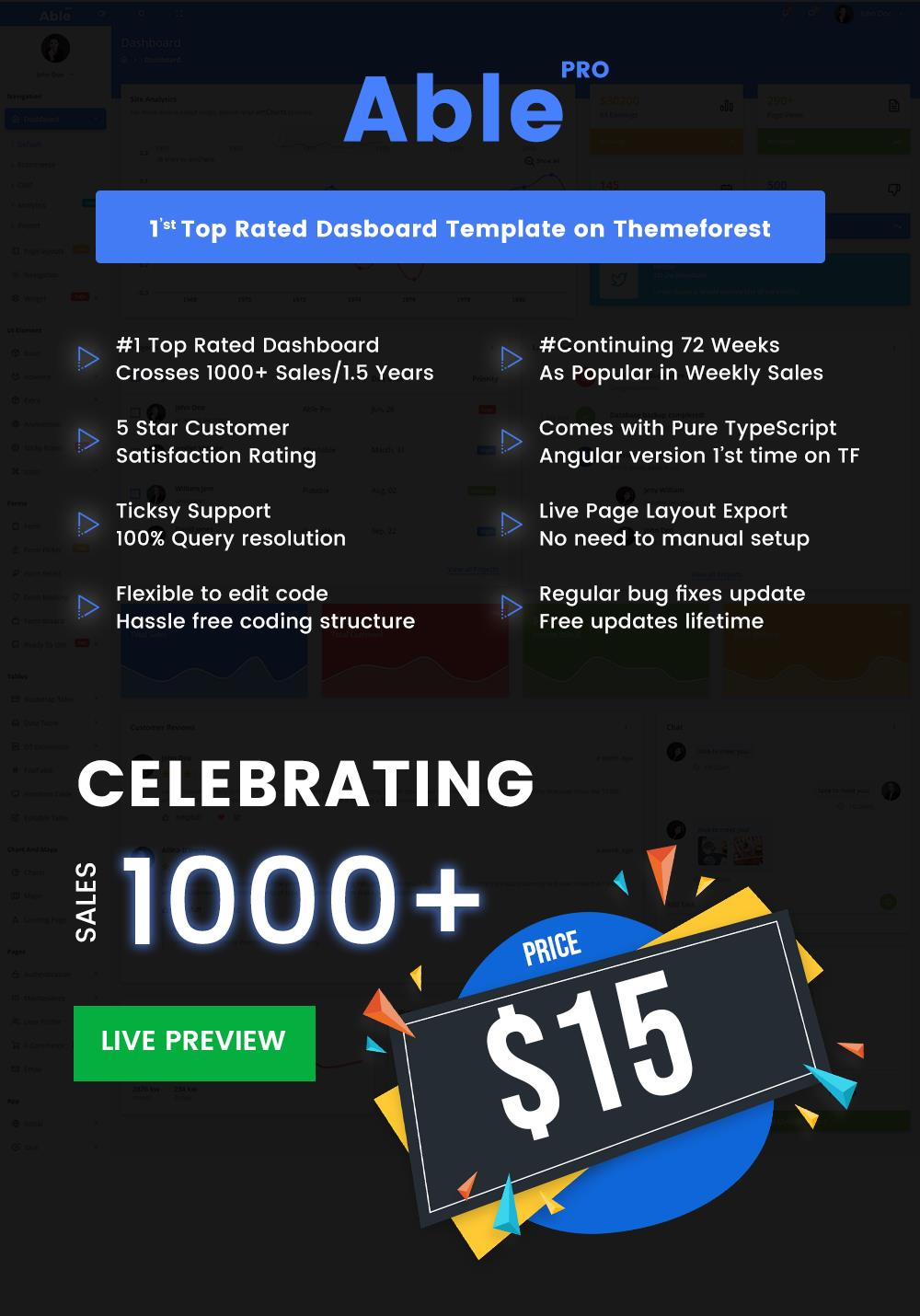 1000+ sales Offer - Able pro 7.0 Responsive Bootstrap 4 Admin Template